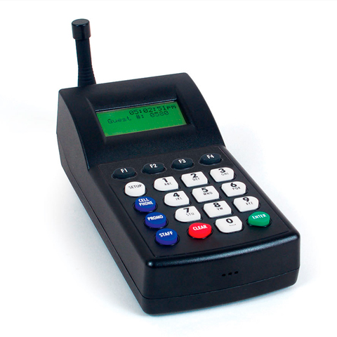 Transmitter voor het oproepen van tekstpagers, de deluxe coasters en/of communicatie via het netwerkoproepsysteem of wachtlijst oproepsysteem.